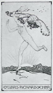 NUDE EX LIBRIS Woman Runs with Torch Chased by Eagle - 1922 Lichtdruck Print