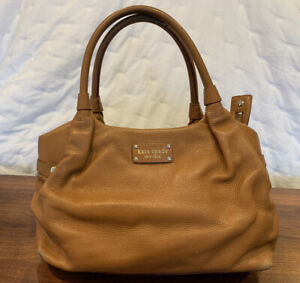 Vintage Kate Spade New York Cognac Brown Pebble Leather Satchel 14(18)x10x5.25