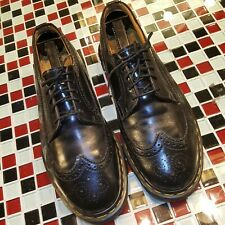 VTG Dr Martens Leather Black Wingtip Brogue Dress Oxford Shoes Sz UK 8 M 9 W 10