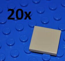 LEGO PARTS - 20X 2X2 TAN TILES/FLAT BUILDING PIECES/BULK PANELS/3068/BEIGE/SAND