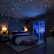 Glow In The Dark Stars Wall Vinyl Stickers, 252 Dots and Moon perfect as gift .