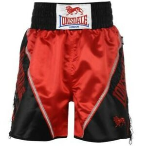 LONSDALE BRAID TASSEL BOXING SHORTS TRAINING FIGHT COMP RED/BLACK MEN'S S NEW