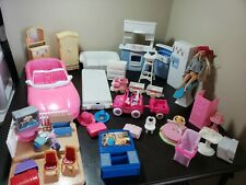 Vintage Barbie Furniture Lot Mattel 1990 kitchen luggage Jeep train pink car lot