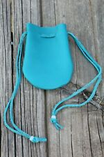 Turquoise blue leather pouch with drawstrings , Leather medicine bag