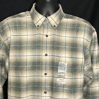 St. Johns Bay Flannel Shirt Medium Gray Brown Plaid Button Down New Lumberjack