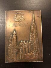 Alte Wiener Bronze Stephansdom  A. Hartig ~ 1945 Plakette Austria RAR Brand Dom