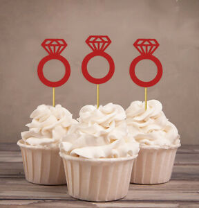 Darling Souvenir  Wedding Engagement Ring Cupcake Toppers  Party-cTF