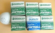"""Lot of 7 New Dudley 12"""" Sb 12 Lnd Leather Fastpitch Softball White Ball Nos"""