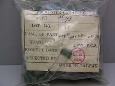 "30 Vintage Type 93 ""Greenie"".001uF 400V 10% Polyester Capacitors"