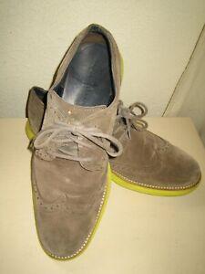 Cole Haan Gray LUNARGRAND Lunarlon Long Wingtip Shoes 11 M Green/Yellow Sole
