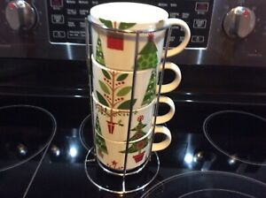 Pier1 One Stacking Mugs Cups Christmas Holiday Trees Chrome Holder Rack Porcelai