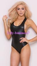 Sexy Lingerie Underwear Plunge Neckline Opaque Black PVC Zip Side Bodysuit Teddy
