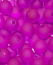 24 x 10mm Cerise Pink Frosted Glass Beads Jewellery Making Crafts