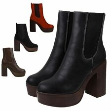 Women's Synthetic Pull on Block High Heel (3-4.5 in.) Boots