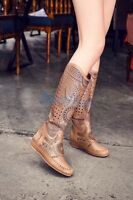 Vintage Women's Leather Hollow Out Flats Heel Knee High Boots Casual Retro Shoes