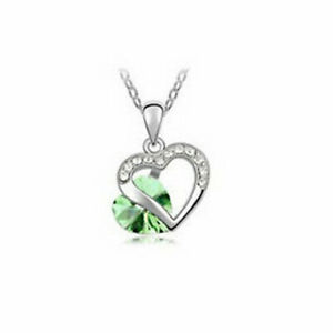 Fashion Heart Green Crystal Zircon Silver Chain Pendant Necklace Engagement Gift