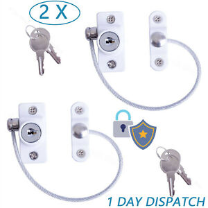 2Pack White Window Door Restrictor Safety Locking UPVC Child Security Wire Cable