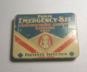 "VINTAGE PUBLIX EMERGENCY KIT ""PREVENTS INFECTION"" POCKET TIN. NURSE IMAGE 1930s"