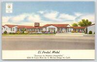 San Diego CA~El Portal Carpeted Motel~El Cajon Blvd (Rt 80)~Soft Water~Linen 50s