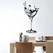 "23.6"" X 43.3"" Black Abstract Elegant Wine Glass Wall Decal Kitchen Vinyl Decor"