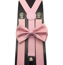 Blush Wedding Light Pink Suspenders and Bow Tie Set Wedding Prom Adult Teens