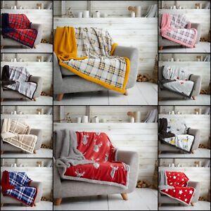 Christmas Teddy Fleece Sherpa Faux Fur Mink Sofa Couch Throw Bed Spread Blanket