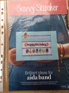 Happy Birthday cross stitch chart card & bracelet instructions using Aida band