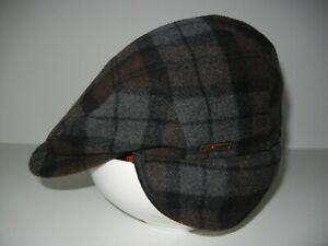 WIGGENS Brown/Gray Warm WOOL CABBIE HAT Winter Golf Flat Newsboy Cap Sz L 7 1/4