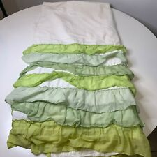 New listing shower curtain fabric white with green ruffled bottom India Rose 100% cotton