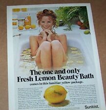 1975 print ad - Sunkist Lemons sexy nude girl beauty bath Advertising Page