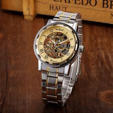 Winner Luxus Herren Sport Skeleton Automatische Mechanische Edelstahl Armbanduhr