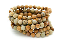 "Picture Jasper Smooth Round Sphere Natural Gemstone 8mm loose beads 8"" Bracelet"