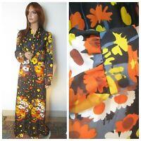 Vintage 1970s UK:16 Long Black Orange Yellow Long Sleeve Maxi Party Fancy Dress