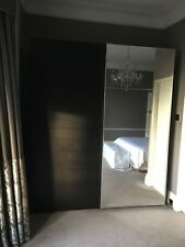 IKEA PAX Tall Sliding Mirror and Dark Wenge Wood Door Wardrobes