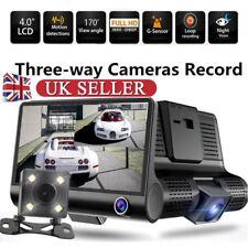 "1080P 4"" 3 Lens HD Car DVR Rearview Video Dash Cam Recorder Camera G-sensor UK"