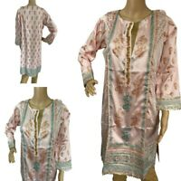 Women Indian Kurti Kurtis Dress Kurta Pink Party Silk Embroidered Long Tunic