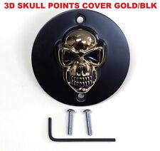 3D Skull Timing Cover Gold Skull w/ Black Vertical Holes Harley Sportster 86-03