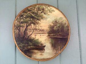 """Antique Folkart Oil Painting Unique """"sampler Stretcher"""" Oak Frame Signed E. LEE"""