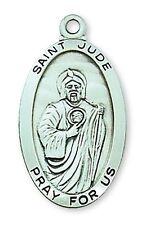 Medal St Jude Thaddeus Sterling Silver Medallion Pendant 24 inch Chain Catholic