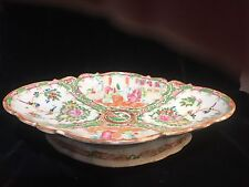 Large Antique Chinese Rose Medallion Footed Oval Bowl Centerpiece 18th or 19thC.