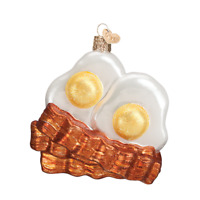 """Bacon & Eggs"" (32210)X Old World Christmas Glass Ornament w/OWC Box"