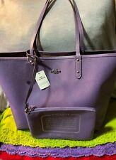 Coach City Khaki & Light Purple PVC SIG Reversible Open Top Tote & Zip Pouch