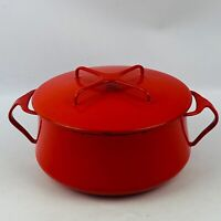 Vintage Dansk Kobenstyle Denmark Red Enamel 2 Quart Pot & Lid Very Heavy Wear
