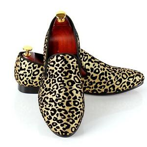 Leopard Printed Slip On Loafers Mens Wedding Dress Casual Shoes New Size 6-14