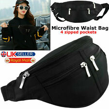 Black Waist Bum Bag Travel 4 Zips Microfibre Safe Money Pockets Belt Mens Ladies