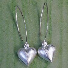 Heart swing dangle Earrings sterling silver