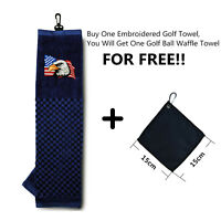 "Golf Players Towel  16"" x 22"" Cotton Black With Free Small Golf Ball Wipe Towel"