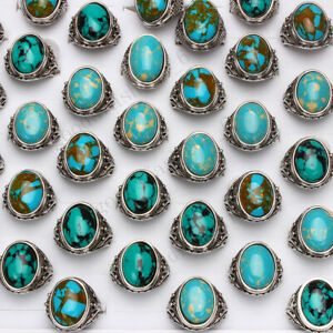 5Pcs wholesale lot Rings mixed Turquoise gemstone stone Silver Womens Mens