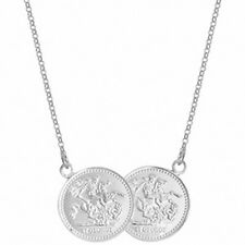 """Half Sovereign Necklace Solid Sterling Silver Ladies Pendant 17 """""""