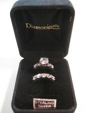 Cubic Zirconia Sterling Silver Diamonique Wedding Band Set, Size 6 1/2
